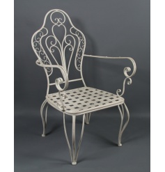 Gorgeous antique styled white metal arm chair