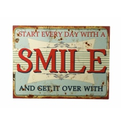 Vintage style Smile metal plaque with distressed design