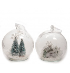 An assortment of 2 glass baubles with winter scenes