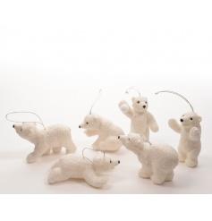 6 assorted polar bear tree decorations with glitter finish