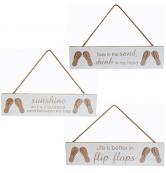 3 Assorted wooden hanging signs with flip flop design