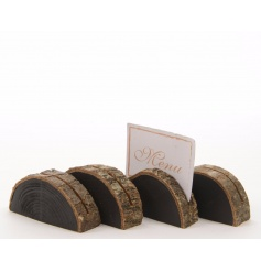 Unique woodland style name card holders with a chalkboard detail ideal for personalisation.