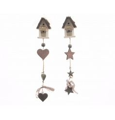 Stylish wooden hanging house decorations with chic star and heart garlands.