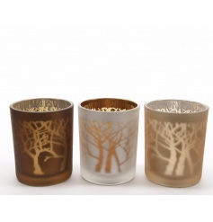 A mix of 3 richly coloured glass t-light holders with a matt outer finish and reflective centre.