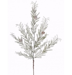 A charming snowy glitter pick with pinecones. A stunning decorative item for many xmas themes.