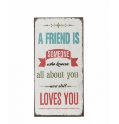 Shabby chic magnet with 'A Friend is..' script
