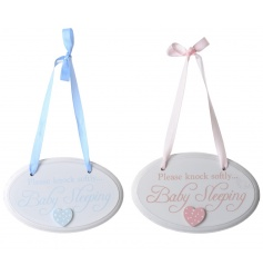 Chic round signs in pink and blue with Knock softly script