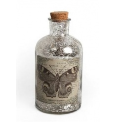 Antique style glass bottle with rustic butterfly print