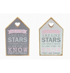 An assortment of 2 wooden house blocks with popular quote