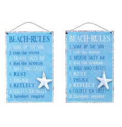 An assortment of 2 metal Beach Rules plaques in an eye catching colour