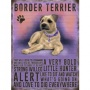 Hanging metal sign with colourful Border Terrier image and script