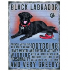 Hanging metal sign with colourful Black labrador image and script