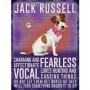 Hanging metal sign with colourful Jack Russell image and script