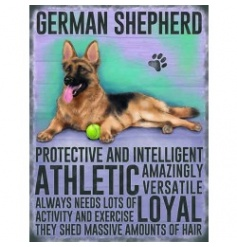 Hanging metal sign with colourful German Shephard image and script