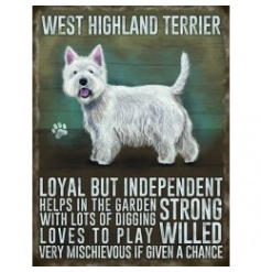 Hanging metal sign with colourful Westie image and script