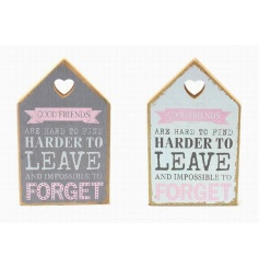 Assortment of 2 house shaped wooden signs with popular Good Friends script