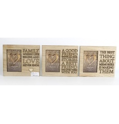 Carved picture frames in an assortment of 3