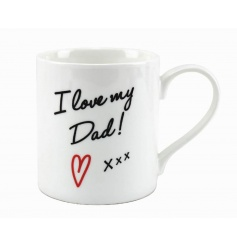 White china mug with sweet script