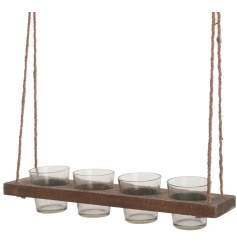 Rustic hanging wooden tray with 4 candle holders