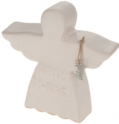 Decorative ceramic angel ornament with Merry Xmas script
