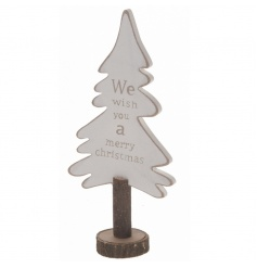 Chic wooden tree with Christmas print