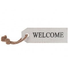 Wooden welcome tag sign rustic rope to hang