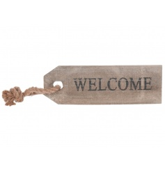 Rustic wooden tag style sign with Welcome script