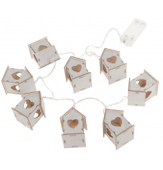 Battery powered LED lights with house decorations