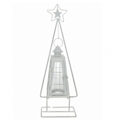 Standing metal tree shaped lantern with wooden star detail