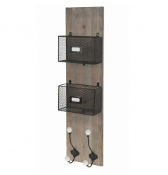 Wooden wall hanging post rack with hooks