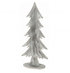 Rustic wooden Christmas tree decoration on stand