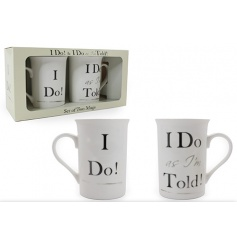 Set of 2 mugs in a matching gift box with humorous 'I Do' text