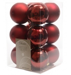 A pack of 12 classic dark red shatterproof baubles with a matt and shiny finish.