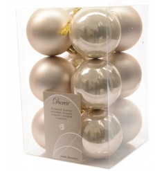 A set of 12 champagne coloured shatterproof baubles in a matt and shiny finish.
