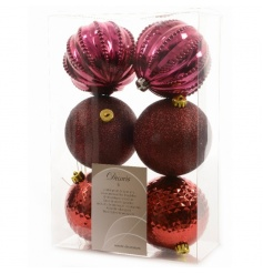 A set of 6 fine quality shatterproof baubles in glamorous glitter, textured and shiny designs.