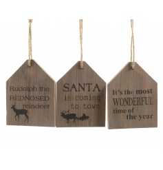 An assortment of 3 wooden house signs with festive phrases and illustrations.