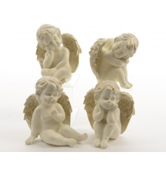 An assortment of 4 classic sitting angels with antique gold wings.