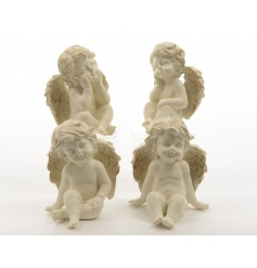 An assortment of 4 cream sitting angels with gold wings.