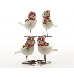 An assortment of 4 polyresin birds with festive green and red glitter hats and individual patterned scarves.
