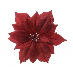 A beautiful fine quality deep red poinsettia with glitter trim and embellished detailing.