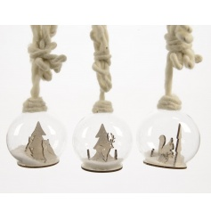 An assortment of 3 hanging snowglobe decorations
