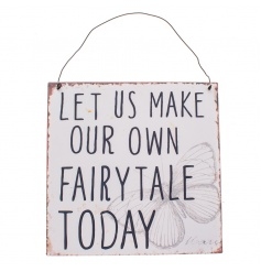 Chic metal hanging sign with sweet quote and butterfly print