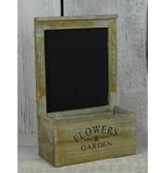 Rustic style chalk board planter with a distressed style finish