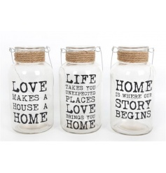 Decorative glass slogan jars in an assortment of 3