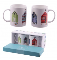A set of 2 bone china mugs in a matching gift box