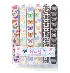 Bright and colourful nail files with an assortment of Chouko butterfly designs