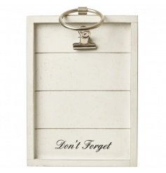 A stylish wooden note board with a silver hook and 'Don't Forget' slogan.