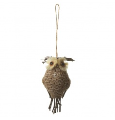 Woodland style hanging owl decoration with rustic string to hang