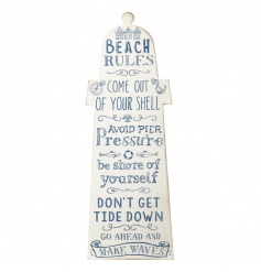 A nautical blue and white wooden sign with beach rules and coastal illustrations.