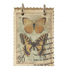 A beautiful small notebook with a vintage style butterfly stamp design and craft paper.